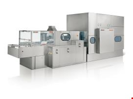 Washing and sterilizing lines for glass containers used in pharmaceutical industry