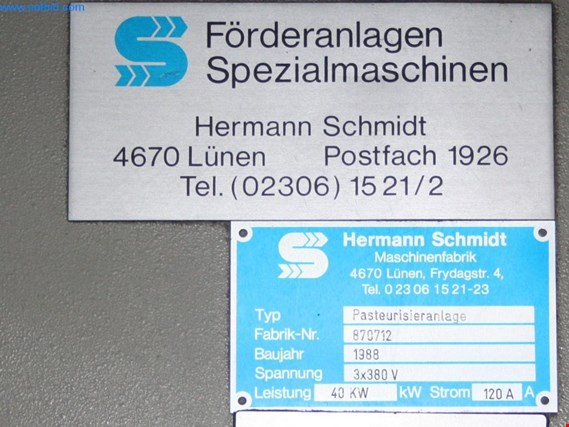 Used Hermann Schmidt Pastorisieranlage Pasteurisierofen for Sale (Auction Premium) | NetBid Industrial Auctions