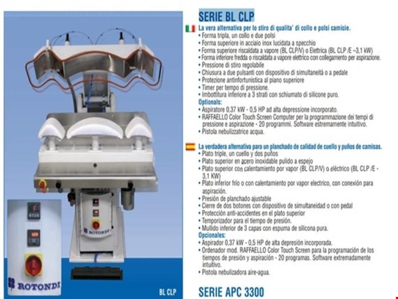 ROTONDI MOD BL/CLP SERIES AIR OPERATED COLLAR & CUFF PRESS gebraucht kaufen (Auction Standard)