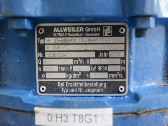 Used Allweiler NB 25-200/02 Centrifugal pump for Sale (Auction Premium)